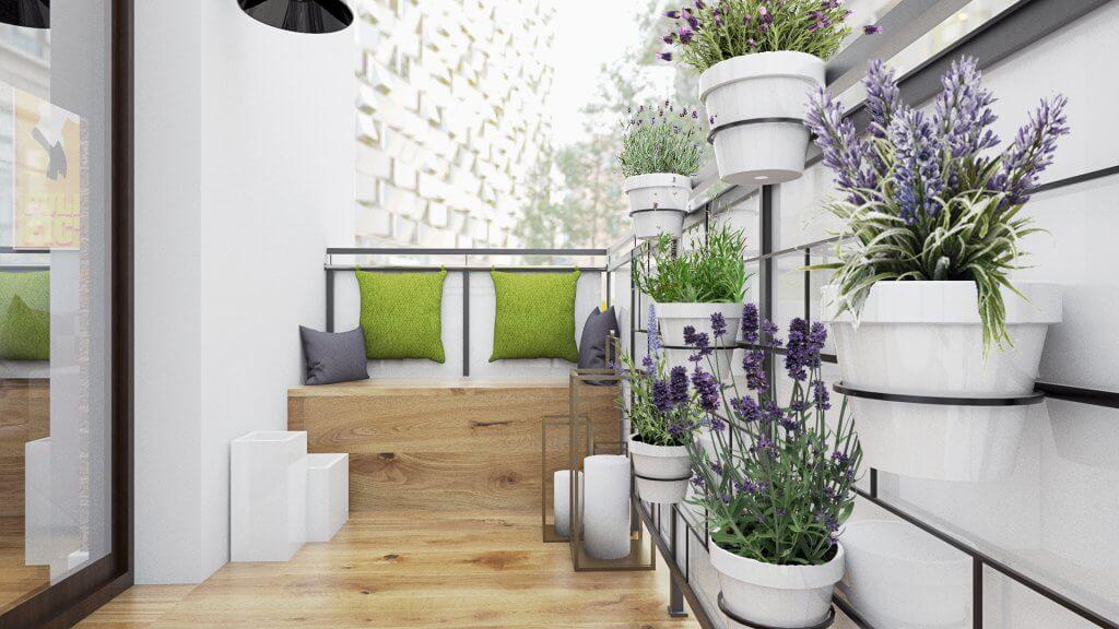 projekt balkonu z roślinami